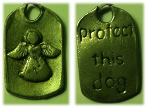 Guardian angel charm for dog collar. Protect this dog (back).
