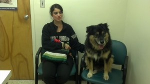 Jabba and his mom at the  vet in January 2013