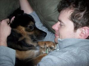 Jabba-bear cuddling with his dad.