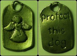 Guardian angel charm for dog collar. Protect this dog (back).